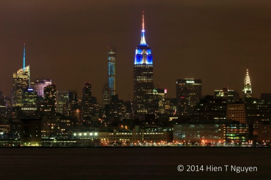 Midtown Manhattan at night, with Empire State Building in center